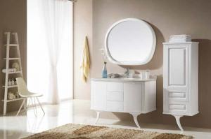China White High Gloss Bathroom Vanity Units Wooden Cabinet With 2 Legs Floor Stand on sale