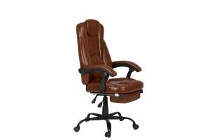 Quality PU Brown Leather Reclining Office Chair With Footrest Retractable Reducing for sale