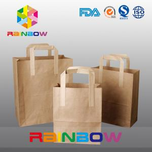 China Customized Size No Printing Brown Kraft Paper Bag Shopping Bags With Handle on sale