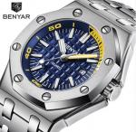 Hot selling square Mens Chronograph steel bracelet Quartz benyar Watches BY-5123M