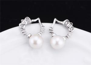 China 925 Sterling Silver Jewellery Pearl Stud Earring With Cute Kitty Cat Face on sale
