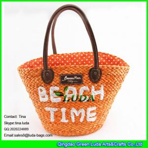 China LUDA the fashionable corn husk straw bag with embroidery letters on sale