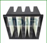 Box Type V Bank Air Filter , High Efficiency HEPA Filter Large Filtration Area