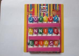 China Individual Balloon Birthday Letter Candles , Multi Colored Craft Alphabet Cake Candles on sale