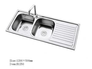 Stainless Steel Double Kitchen Sink With Drainboard Design