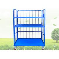 China Blue Warehouse Cages On Wheels / Stackable Storage Cages With Shelves on sale