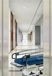 China Automatic Door Type Hospital Bed Elevator , Hairline Stainless Steel Elevator on sale
