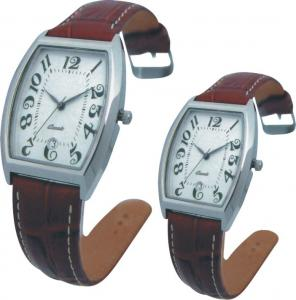 China Valentine's Day Supply Couple Leather Band Quartz Watch Stainless SteeL Backcase on sale