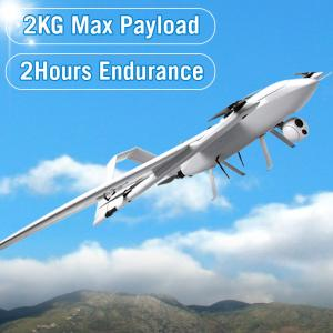 China Fixed Wing VTOL drone 2kg payload 2hour endurance long range uav for inspection survey aerial photography on sale