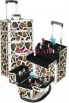 Aluminum Cosmetic Trolley Case Light Weight , Hard Zebra Makeup Case