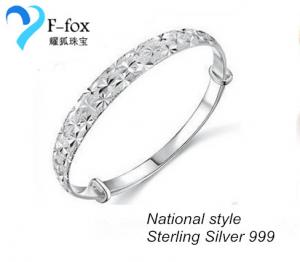 China National Style 999 Sterling Silver Baby's Breath Bangle on sale