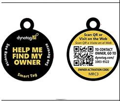 China Blank Sides QR Code Pet Tag Round Shape Match With Microchip 15 Digits on sale