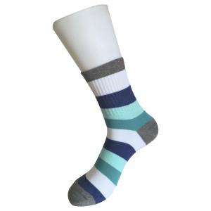 China Mid Calf  Flat Knitted Thick Striped Cotton Dress Socks on sale