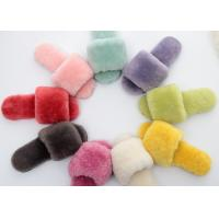 Real Open Toe Sheep Wool Slippers Rubber Sole Sheepskin Fur For Winter Indoor Shoes