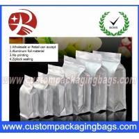 Flat Bottom Ziplock Aluminum Foil Bags For Coffee Bean / Heat Seal Foil Bags