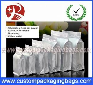 China Flat Bottom Ziplock Aluminum Foil Bags For Coffee Bean / Heat Seal Foil Bags on sale