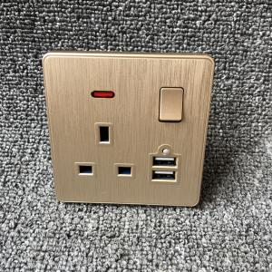 China UK Power Independent Dual USB Wall Switch Socket For Apartment / Home on sale