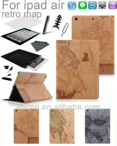 China Durable Map Book Printed Stand Leather Ipad Air Protective Case Unbreakable on sale