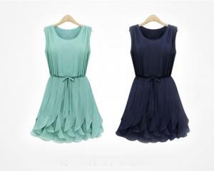 China Green Belt Short Flared Dresses , Summer Round Chiffon Skirts on sale