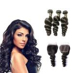 Free Line Part Brazilian 100% Human Hair Extensions / Loose Wave Virgin Hair