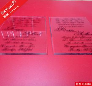 China Transparent  Laser Cut Acrylic Wedding Invitation Card 2015 New on sale