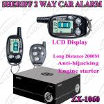 2 Way Paging Car Alarm with Auto Alarms Systems / FM 2000M  LCD Remote Controller ZX-106