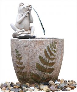 China Medium Nude Frog Resin Water Fountain / Resin Garden Water Features on sale