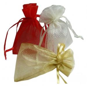 China Wedding Gift Drawstring Jewelry Pouch ISO9001 Approved Comfortable Organza Bags on sale