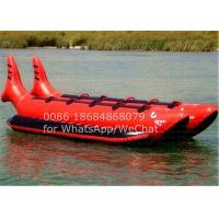 Double Seats Red Shark PVC Inflatable Boat , Inflatable Banana Boat 10 Man Ride