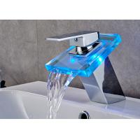 China Color Changing LED Waterfall Bathroom Basin Faucet ROVATE With Glass Spout on sale