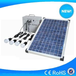 China Hot sale 30w small solar system with 4pcs 3w led light, LED lighting solar system on sale
