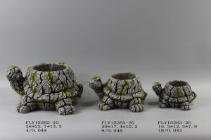 China Turtle Shape Cement Flower Planter Garden Pot Bark Design 26 X 22.5 X 13.3 Cm on sale