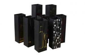 China Custom Printed Wine Bottle Thick Printed Paper Bags with Handle Rope on sale