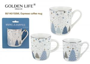 China Porcelain Cappuccino Espresso Cups with snow and chiristmas tree design,with emboss and real gold effect. on sale