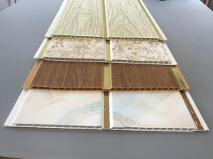 China 10 Inch Latin America Ceiling Decorative PVC Panels With Golden Lines on sale