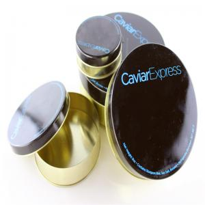 China Rubber band Caviar Tins ,30g 50g 100g 250g 500g Caviar empty caviar tins on sale