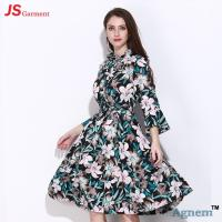 Chiffon Speaker Sleeve Long Casual Dresses For Women Floral Printed