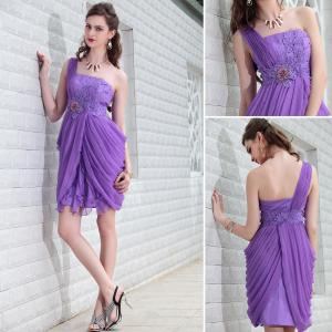 Quality Purple Short Heart Shaped Customized Wedding Dresses With Ribbon For S