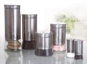China RG14110 Glass Storage Canister With Metal Coated on sale