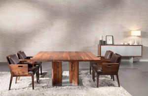 China Large Wood Furniture Dining Table And Chairs Natural Black For Office on sale