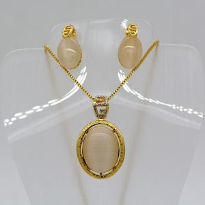 China New Trendy Natural opal Necklace Set 18K Real Gold Plated Rhinestone Necklace Earrings on sale