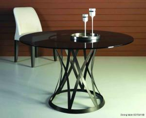 Quality Black Round Marble Dining Tables Set ,  Metal Glass Dining Table for sale