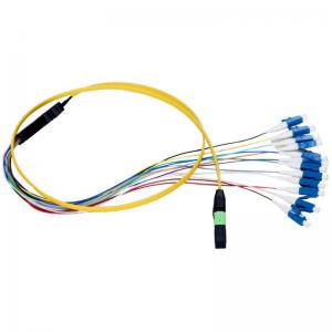China 12 Core MPO Fiber Optic Patch Cord Single Mode And Multimode Fiber Optic Cable on sale