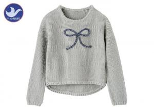 China Anti - Wrinkle Girls Pullover Sweaters Butterfly Ribbon Scoop Neck Knitwear on sale