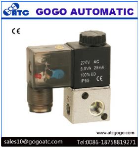 China 3 Way Pneumatic Solenoid Valve Micro Control Gas Electric Valve With Plug Type Light on sale