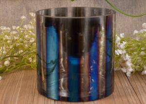 China Iridescent Decorative Glass Cylinder Candle Holders Vertical Straight-Walled Ombre on sale