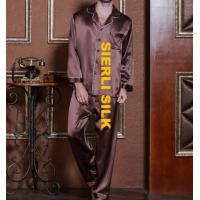 China silk nightwear for men , fashinal silk pajamas for man  , high weight silk sleepwear for man on sale