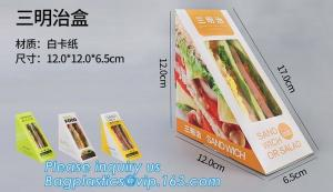 China kraft paper sandwich box with window ,triangle sandwich box for packaging,Cardboard Box With Clear Window Burger Sandwic on sale