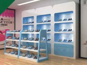 China Lovely Blue Color Children Shoe Display Shelves Shoes Fixtures For Retail Stores on sale
