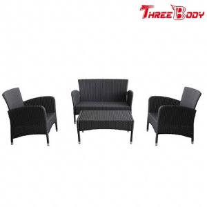China Black Modern Rattan Garden Sofa Set , All Weather Wicker Garden Furniture on sale